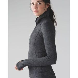 Lulu Think Fast Pullover Herringbone Half-Zip Grey